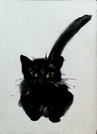 CPSM CHAT NOIR  Illustrateur Ou Illustration POLONAISE 1950  (BLACK CAT Postcard Illustration Or Drawing) - Gatos