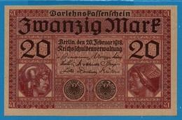 DEUTSCHES REICH 20 Mark 20.02.1918# 3776393 P# 57  Reichsschuldenverwaltung - 20 Mark