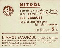 Chromo, étiquette - NITROL , L' Image Magique, Vierge -  Vermifuge Sauba - PUB: Sauba (  France ) - Vieux Papiers