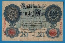 DEUTSCHES REICH 20 Mark  19.02.1914# L.7744242 P# 46b  #7 Digits - [ 2] 1871-1918 : Empire Allemand