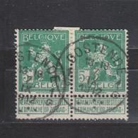 COB 110 En Paire Oblitération Centrale OOSTENDE 1G - 1912 Pellens