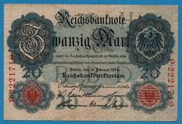 DEUTSCHES REICH 20 Mark  19.02.1914# P.2221719 P# 46b  #7 Digits - [ 2] 1871-1918 : Empire Allemand