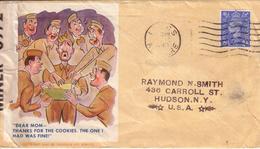 "ECOSSE , USA - LETTRE "" AMERICAN ART SERVICE 1942 "" , "" DEAR MOM ... "" , DE LARGS POUR HUDSON NEW YORK + OPENED - 1943 - Briefe U. Dokumente"