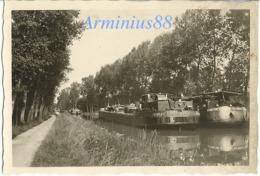 """France, 1940 - Canal - Péniche - """"MELTEM CITERNA SA PARIS"""" & """"ARDECHE CITERNA SA PARIS"""" - Guerre, Militaire"""