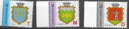 UKRAINE, 2019, MNH, COAT OF ARMS, KLESOV, LOKACHI, CHOP,  OWLS,  NEW PRINTING WITH MICROTEXT, 3v - Postzegels