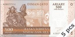 TWN - MADAGASCAR 88a - 500 Ariary 2004 DEALERS LOT X 5 - A XXXXXXX C UNC - Madagascar
