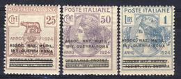 1924 - Enti Parastatali - Opera Nazionale Sovrastampati Associazione Naz. Mutil. Inv. Guerra Roma - 3 Valori MNH - 1900-44 Vittorio Emanuele III