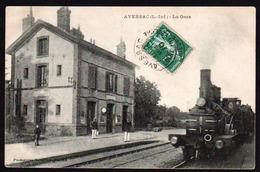 AVESSAC: Plan TOP Sur Le Train Fumant En Gare Et Belle Animation. Carte Oblitérée En 1910. TTB - France