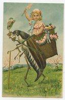 Féerique. Surréalisme. Insecte. Hanneton. Petite Nymphe Dans Une  Hotte.carte Gaufrée En Relief. Embossed. .E.81 - Insects