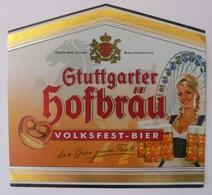 THEME FEMME / FETE FORAINE : ETIQUETTE BIERE STUTTGARTER HOFBRAÜ VOLKSFEST-BIERE - NEUVE - Bière
