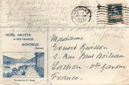 Montreux 1 1933 - Flamme Sur Enveloppe Publicitaire Hôtel Helvétie - Lettres & Documents