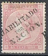 Sello 40 Cts  ANTILLAS, Colonia Española Cuba 1868, HABILITADO POR LA NACION, Num 15A º - Kuba (1874-1898)