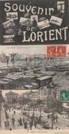 3 CPA:LORIENT (56) SOUVENIR ,LE COURS DE BÔVE,TRAIN PORT DE COMMERCE..ÉCRITES - Lorient