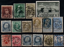 Belgium, Perfins, 16 Stamps - Perfin