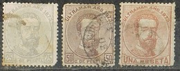 Serie Completa  ANTILLAS, Colonia Española Cuba 1873, Rey Amadeo, Num 25-26-27 º - Cuba (1874-1898)