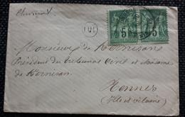 Frankreich, Brief Paar 5C, GROZON Gelaufen CHATEAULIN FINISTERE - 1876-1898 Sage (Type II)