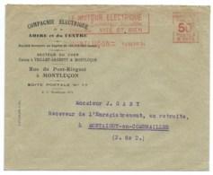 ENVELOPPE/ FLAMME MECANIQUE ROUGE MONTLUCON ALLIER POUR MONTAIGUT EN COMBRAILLES PUY DE DOME / 1934 - 1921-1960: Période Moderne