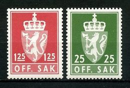 NORVEGE 1975 Service N° 97/98 ** Neufs MNH Superbes C 2.25 € Armoiries Coat Of Arms Couronne Faune Lion Animaux - Service