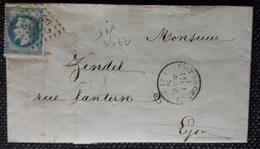 Frankreich 1870, Brief Nummernstempel 2932, Gelaufen LYON - 1863-1870 Napoleon III With Laurels