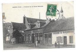 """80 QUEND- VILLE( Somme )   L' Avenue Sur La Route Nationale    """" à Droite Boucherie Du MARQUENTERRE """" - France"""