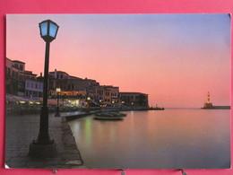 Grèce - Crète - Soir Sur Le Port De La Canée - Phare - Jetée - Recto Verso - Griechenland