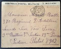 Enveloppe Franchise Militaire De PARIS Vers 370e Régiment D'Artillerie Lourde Sur Voie Ferrée Censure XC512 Avril 1940 - Poststempel (Briefe)