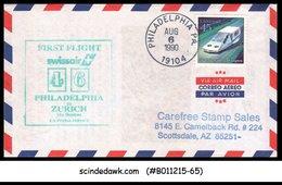 USA - 1990 SWISSAIR 46 PHILADELPHIA To ZURICH (via BOSTON) - FFC - Premiers Jours (FDC)