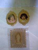 Two Decoupis Victorian Scraps Oblaten 1900 Angels One With Insect Hole Additional Virgin Photo Piece Not Clear Impressio - Angels