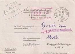 Carte FM De Port A L'Anglais Seine Pour Prisonnier De Guerre OFLAG XVII. Censure - Guerre De 1939-45