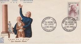 Enveloppe  FDC  1er  Jour   FRANCE   CROIX  ROUGE   Abbé  MICHEL  DE  L' EPEE   VERSAILLES   1959 - 1950-1959