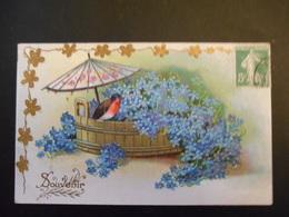 Rouge-gorge Posé Sur Plateau En Bois Plein De Myosotis Avec Ombrelle Chinoise, Trèfles Dorés - Gaufrée - Série 2001 - Birds