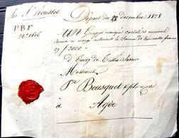 DOCUMENT ACCOMPAGNANT UN GROUPE CACHETE ET NUMEROTE CONTENANT 3000 FRANCS BEAU CACHET DE CIRE 1828 - Unclassified