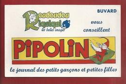 """BUVARD ILLUSTRÉ - PRESSE POUR ENFANTS - ROUDOUDOU & RIQUIQUI CONSEILLENT """"PIPOLIN"""" - GNOME, LUTIN... - Kinder"""