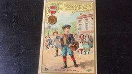 CHROMO Chocolat Poulain  Gauffree Relief DECORATIONS FRANCAISES ET ETRANGERES  MEDAILLE SCOLAIRE - Poulain