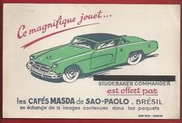 "BUVARD ILLUSTRÉ - CAFÉ ""MASDA"" DE SAO PAOLO - VOITURE JOUET - STUDEBAKER COMMANDER - Café & Thé"