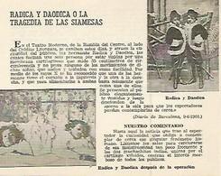 LAMINA 2521: Radica Y Daodica O La Tragedia De Las Siamesas - Autres Collections