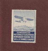 SUISSE - Poste Aérienne 1913 - Vignette Neuve ** Journée D' AVIATION à HERISAU . HERISAUER FLUGTAG 1913 - 2 Scannes - Airmail