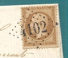 GC 4102 De VARENNES COURTEMONT (Aisne) + CàD Perlé Type 22. Lettre Locale Pour CHATEAU THIERRY.  SUPERBE - 1849-1876: Classic Period