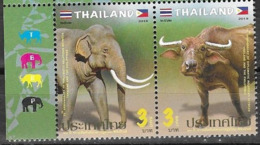 THAILAND, 2019, MNH,JOINT ISSUE WITH THE PHILIPPINES, BUFFALO, ELEPHANTS, 2v - Gezamelijke Uitgaven