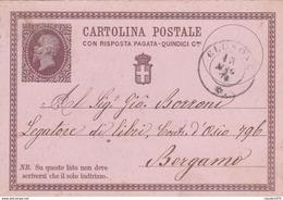 ITALIA - INTERO POSTALE - REGNO - CON RISPOSTA PAGATA CENT. 15 - VIAGGIATA DA CLUSONE (BG) PER BERGAMO - Entero Postal