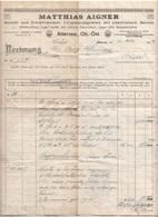 RECHNUNG 1927 Der Fa. MATTHIAS AIGNER , Mauer-u.Zimmermeister, Vollgattersägewerk …Attersee Ob.-Öst., A3 Format ... - Autriche