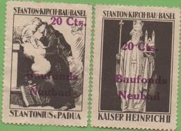 SUISSE, 2 Vignettes Stanton-Kirsch-Bau-BASEL 20cts Baufonds Neubad - Vignetten (Erinnophilie)