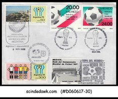 ARGENTINA MEXICO - 1986 SPECIAL COVER OF FOOTBALL WORLD CUP-SPECIAL CANCL. - Argentina