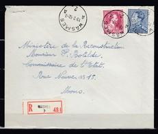 Aangetekende Brief Van Wasmes A2A Naar Mons - 1936-51 Poortman