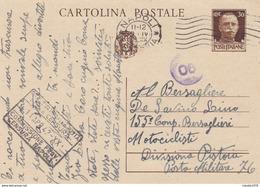 ITALIA - INTERO POSTALE - REGNO - C.30 -POSTA MILITARE, I155 CAMP. BESAGLIERI , MOTOCICLISTI DIVISIONE PISTOIA GV. DA NA - Stamped Stationery