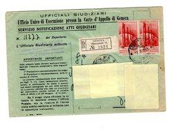 P0659 SERVIZIO NOTIFICAZIONE ATTI GIUDIZIARI COPPIA CONGRESSO PETROLIO L. 60 - 6. 1946-.. Repubblica