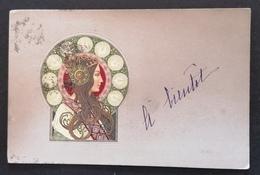 Belle Carte Dans Le Style Mucha. Illustration. Gaufrée. - Illustrators & Photographers
