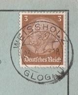 Deutsches Reich Karte Mit Tagesstempel Weissholz über Glogau 1935 RB Liegnitz Schlesien Werbung Bäuerin Mit Milchkannen - Deutschland