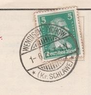 Deutsches Reich Karte Mit Tagesstempel Wendisch Tychow 1927 Kr Schlawe Pommern - Deutschland