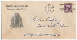 HOTEL / 1936 USA - SYRACUSE - NY  ENVELOPPE ILLUSTREE (ref GF129) - Hôtellerie - Horeca